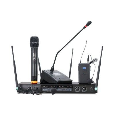 無線話筒一拖四U段領夾耳麥頭戴式舞台專業演出會議腰包麥克風
